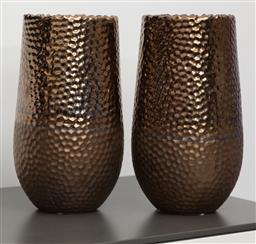 Sale 9150H - Lot 65 - A pair of gold tone metallic ceramic vases, height 30cm