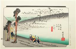 Sale 9168 - Lot 497 - Hiroshige marked Japanese Woodblock print of Futagawa, from the 53 stations of Tokaido series, 41cm x 27cm