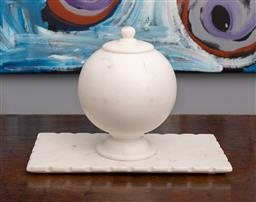 Sale 9248H - Lot 108 - A white marble tray and lidded orb pot.