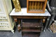 Sale 8035 - Lot 1007 - Early 19th Century French Walnut Console Table with Marble Top Frieze Drawer and Bracket Shape Support