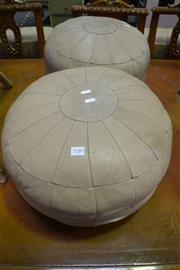 Sale 8087 - Lot 1080 - Pair of Leather Ottomans