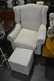 Sale 8159 - Lot 1043A - Cream Upholstered Wing Back Armchair with Ottoman