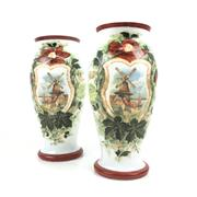 Sale 8545N - Lot 274 - Pair of Victorian Milk Glass Vases decorated with windmills set against a floral border (H: 32cm)