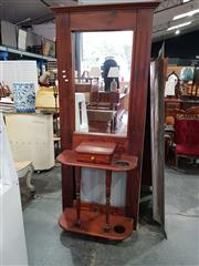 Sale 8740 - Lot 1139 - Timber Mirrored Back Hall Stand with Single Drawer