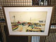 Sale 8779 - Lot 2073 - Carmen Blake - Nelson Bay Trawlers, 1977, mixed media, 41 x 56cm (frame size), signed lower left