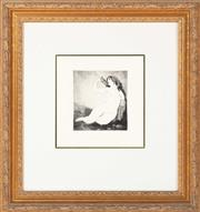 Sale 8863H - Lot 36 - After Norman Lindsay - Dreams image size 13cm x 12cm in gilt frame.