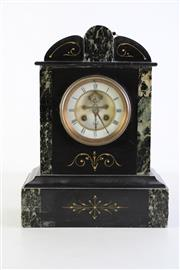 Sale 8952 - Lot 14 - Possibly Edwardian slate and marble mantle clock (with key, untested, H34cm)