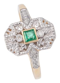 Sale 9124 - Lot 478 - A DAINTY DECO STYLE EMERALD AND DIAMOND RING; 13 x 8.3mm geometric top rub set with a square cut emerald to surround and shoulders s...