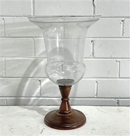 Sale 9183 - Lot 1065 - Hurricane Glass Candle Holder with timber base (h36 x d44cm) -