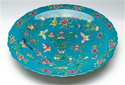 Sale 9211 - Lot 95 - A Blue Ground Chinese Charger with Polychrome Flowers and Butterfly Design (Dia:46cm)