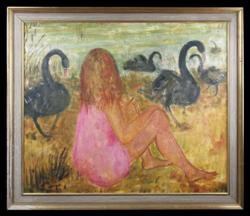 Sale 7923 - Lot 550 - Phyllis Waterhouse - Swan Girl 76 x 91cm