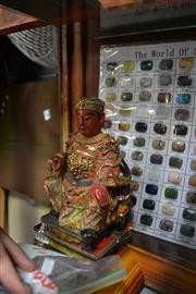 Sale 8022 - Lot 46 - Chinese Carved Timber and Painted Gesso Figure of a Royal Gent