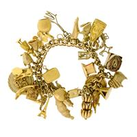 Sale 8171A - Lot 81 - A 9ct gold charm bracelet with 31 mostly 9ct gold charms; wt appox 100g
