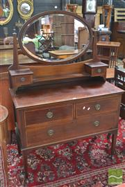 Sale 8255 - Lot 1048 - 1920s Mahogany Dressing Chest, with two trinket and three larger drawers, having satinwood banding