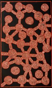 Sale 8270A - Lot 71 - Willy Tjungurrayi (c.1932 - ) - Tingary Cycle 152 x 91cm (framed & ready to hang)