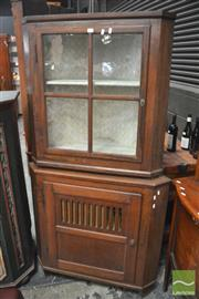 Sale 8317 - Lot 1027 - 19th Century Oak Corner Cabinet, the top with Astragal Door, the lower section with grill panel door - torn fabric to grill  (2 x Ke...