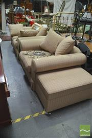 Sale 8406 - Lot 1120 - Three Piece Fabric Lounge Setting inc Two Seater Armchair and Matching Ottoman