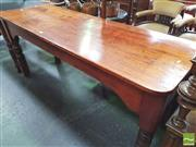 Sale 8428 - Lot 1090 - Late 19th Century Long Cedar Work Table, one apron recessed & on turned legs (H 75 x L 169 x D 61cm)
