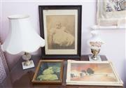 Sale 8515A - Lot 63 - Sundry wares including two marble based lamps and three prints, various sizes