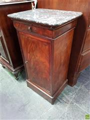 Sale 8559 - Lot 1048 - 19th Century French Mahogany Bedside Cabinet, with mottled grey marble top, having a drawer & panel door