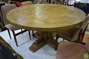 Sale 8550 - Lot 1271 - Round Recycled Elm Parquetry Top Pedestal Table (140cm)
