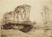 Sale 8583A - Lot 5024 - Sydney Long (1871 - 1955) - The Bridge Avoca 25 x 35.5cm