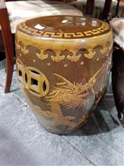 Sale 8740 - Lot 1082 - Ceramic Stool with Dragon Design