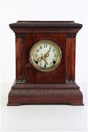 Sale 8952 - Lot 46 - Late Victorian timber mantle clock with key (H32cm)