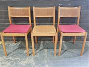 Sale 8959 - Lot 1061 - Set of Eight Italian Blondewood Dining Chairs with Rattan Seats (rattan needs repairing) (H: 77, W: 42cm)
