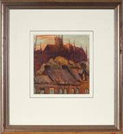 Sale 9028 - Lot 2002 - Tempe Manning (1893 - 1960) - Terraces Houses & view of St. Marys Cathedral under Construction 23 x 22 cm (frame: 52 x 48 x 3 cm)