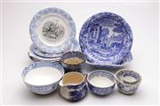 Sale 9060 - Lot 77 - A Collection of Blue and White Ceramics inc Willow Pattern, Masons, Minton and Others (some wear)