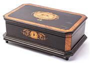 Sale 9083N - Lot 90 - A French hinged lid inlaid jewellery casket on bun feet with canted corners. Width 29cm Height 11cm
