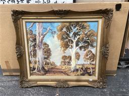 Sale 9094 - Lot 2058 - Mark Kaiser  Country Track & Gum Trees 1971  oil on canvas on board, 69 x 78cm (frame) signed lower lef