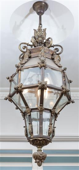 Sale 9130H - Lot 1 - An exquisite pair of multi-faceted lanterns with bevelled glass, total drop 124cm, Approx Width 46cm