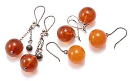 Sale 9156J - Lot 399 - THREE PAIRS OF VINTAGE SILVER AMBER EARRINGS; a pair with 14mm round beads on shepherds hooks, pair 13mm round beads on locking shep...