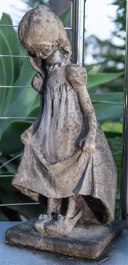 Sale 9162H - Lot 223 - A weathered concrete figure of a girl, Height 54cm