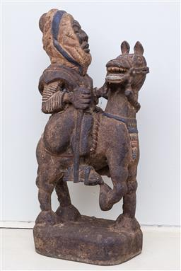 Sale 9190H - Lot 123 - A Mongolian timber tribal warrior on horse back, Height 67cm