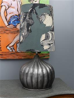 Sale 9248H - Lot 109 - A lobed gourd form tin lamp of good size with a handmade shade .