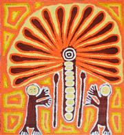 Sale 8270A - Lot 61 - Linda Syddick Napaltjarri (1941 - ) - The Witch Doctor and the Windmill Dreaming 79 x 88cm