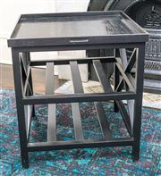 Sale 8298 - Lot 8 - A Black Side Table with Lift out tray from La Maison. 60 x 60 x 85cm