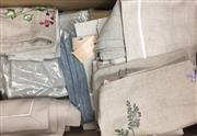 Sale 8310A - Lot 324 - A large quantity of linen placemats, in muted tones, some patterned some monogrammed