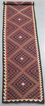 Sale 8445K - Lot 48 - Maimana Afghan Kilim Runner , 403x84cm, Handwoven in Northern Afghanistan using durable local wool. Traditional and reversible slit...