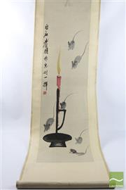 Sale 8496 - Lot 67 - Chinese Scroll of Mice and A Candle Signed