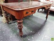 Sale 8559 - Lot 1011 - Late 19th Century Cedar Desk, with separate glass top, two drawers & on turned legs