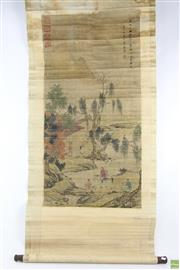 Sale 8563 - Lot 295 - Scroll With Mountain And Village Scene