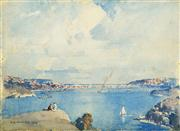 Sale 8583 - Lot 568 - Benjamin Minns (1864 - 1937) - Untitled, 1929 (Overlooking the Cove) 29 x 39.5cm