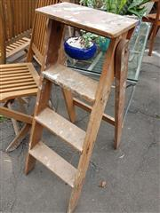 Sale 8740 - Lot 1218 - Rustic Timber Step Ladder
