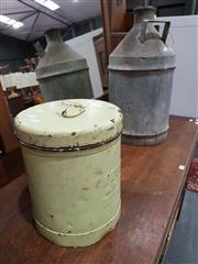 Sale 8740 - Lot 1096 - Vintage Milk Urn and Metal Lidded Bin