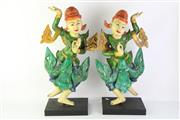 Sale 8802 - Lot 85 - Pair of Polychrome Carved Burmese Dancers (H 55cm)