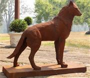 Sale 8871H - Lot 8 - A cast iron wolf in watchful pose, height 115, length 125cm